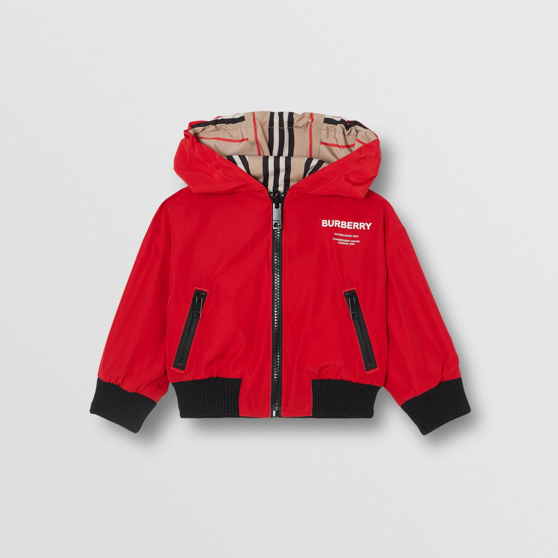 Reversible Icon Stripe Lightweight Hooded Jacket in Bright Red - Children | Burberry United States - gallery image 0