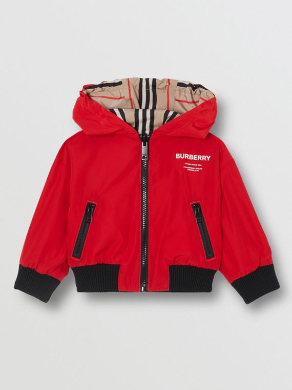 Reversible Icon Stripe Lightweight Hooded Jacket in Bright Red