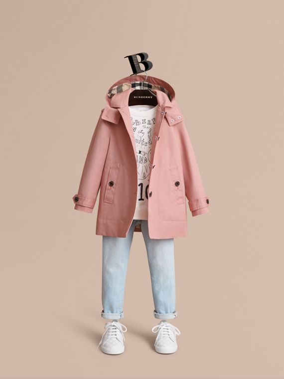 Trench-coat en coton à capuche amovible - Fille | Burberry