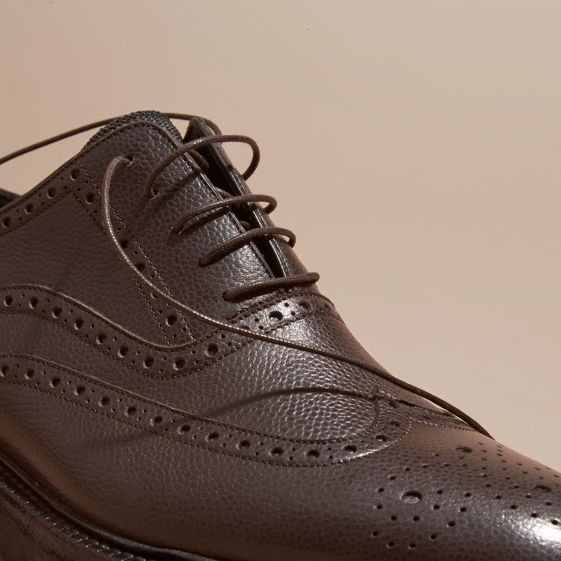 Bitter chocolate Grainy Leather Wingtip Brogue with Rubber Sole Bitter Chocolate - gallery image 2