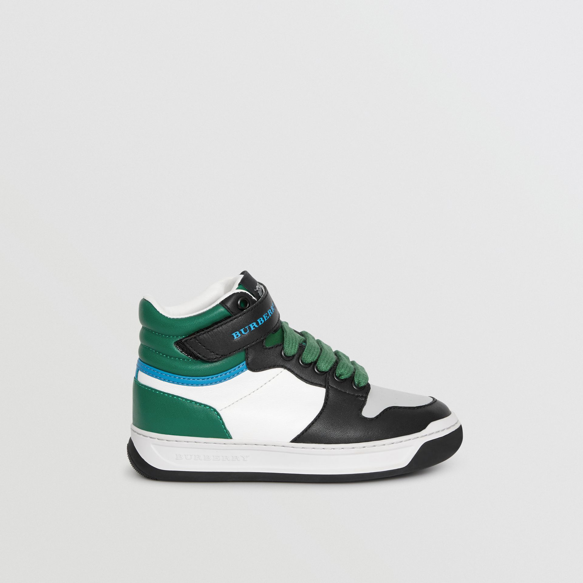 Colour Block Leather High-top Sneakers in Viridian Green - Children | Burberry - gallery image 3
