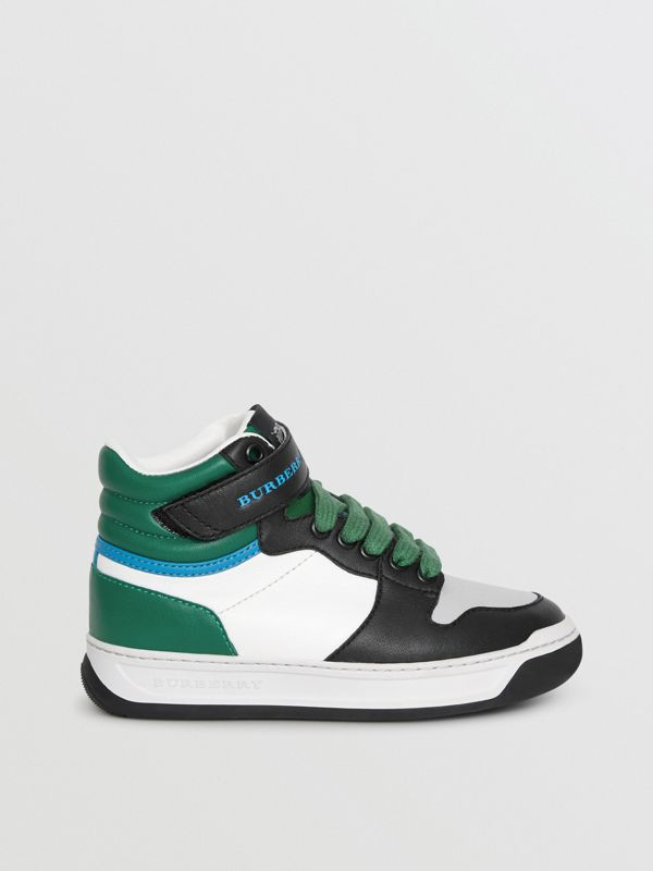 Colour Block Leather High-top Sneakers in Viridian Green - Children | Burberry - cell image 3