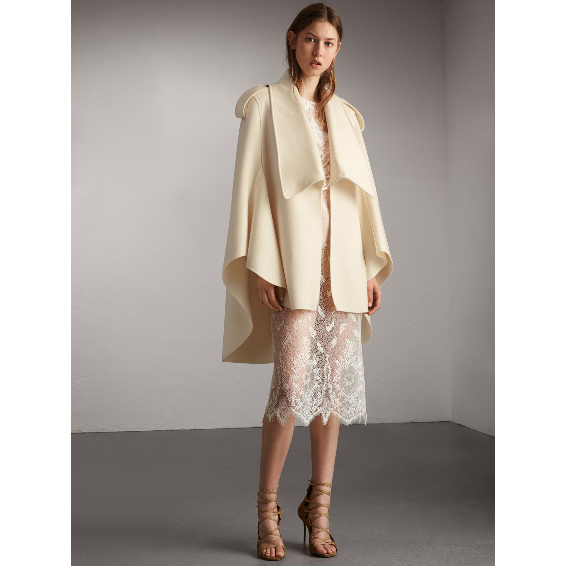 Tailored Wool Cashmere Cape in White - Women | Burberry - gallery image 1
