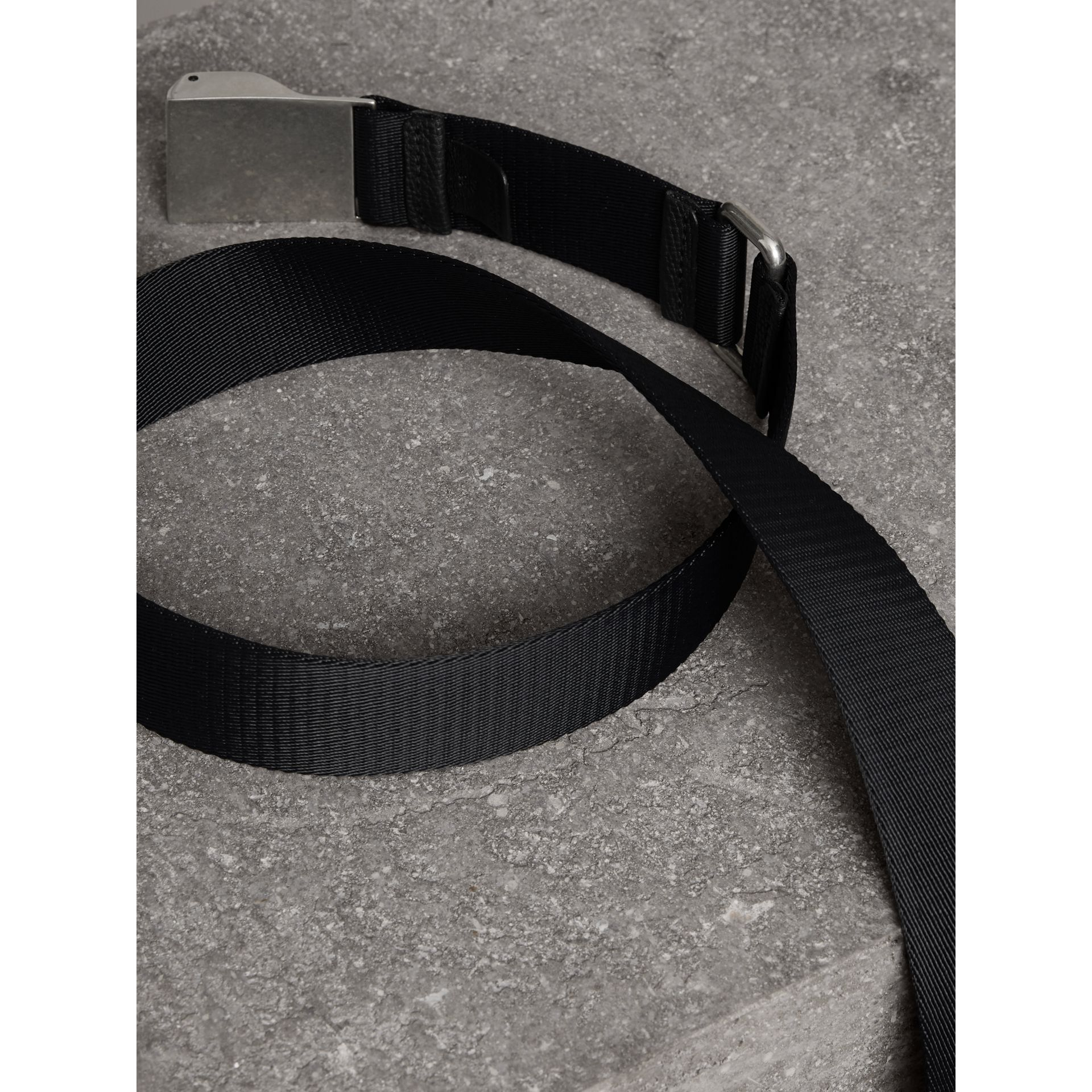 Plaque Buckle Nylon Belt in Black - Men | Burberry - gallery image 2