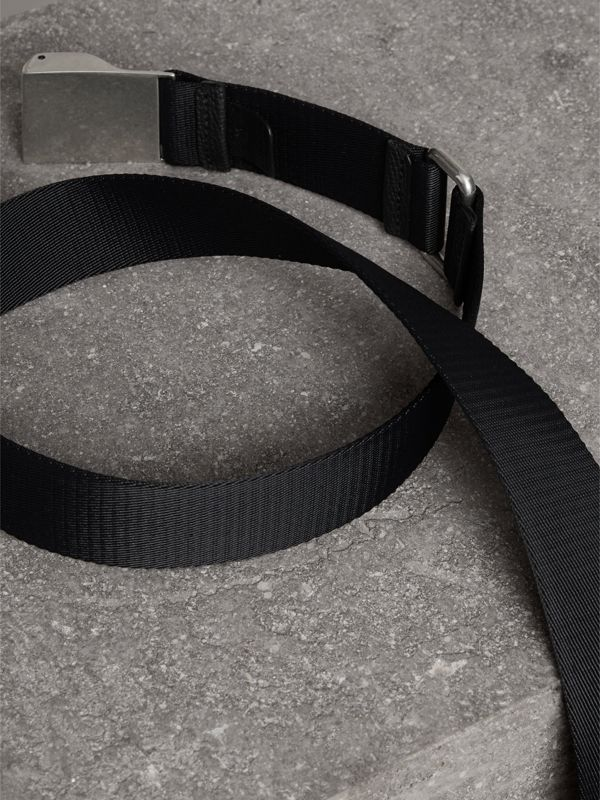Plaque Buckle Nylon Belt in Black - Men | Burberry United Kingdom - cell image 2