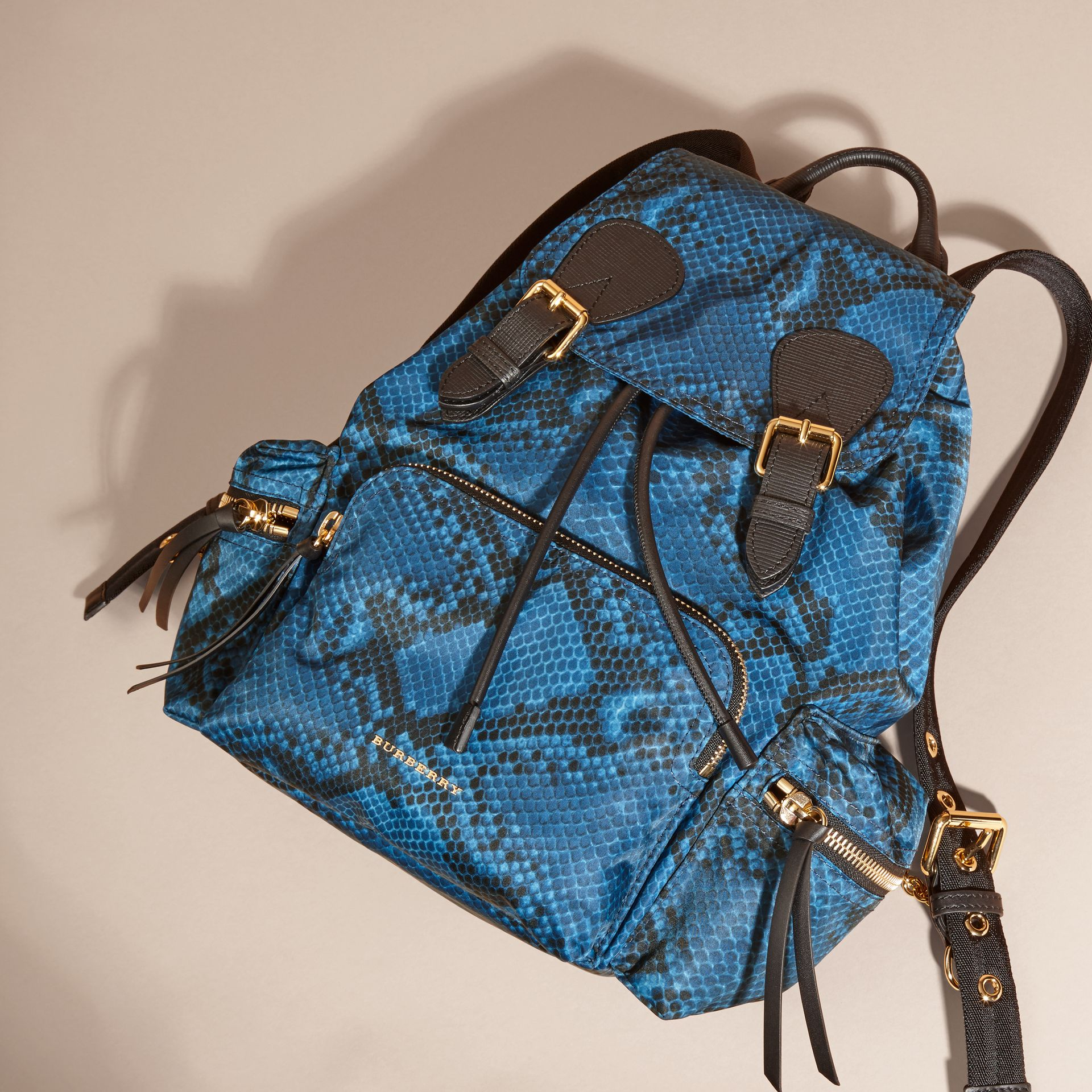 Blue The Medium Rucksack in Python Print Nylon and Leather Blue - gallery image 7