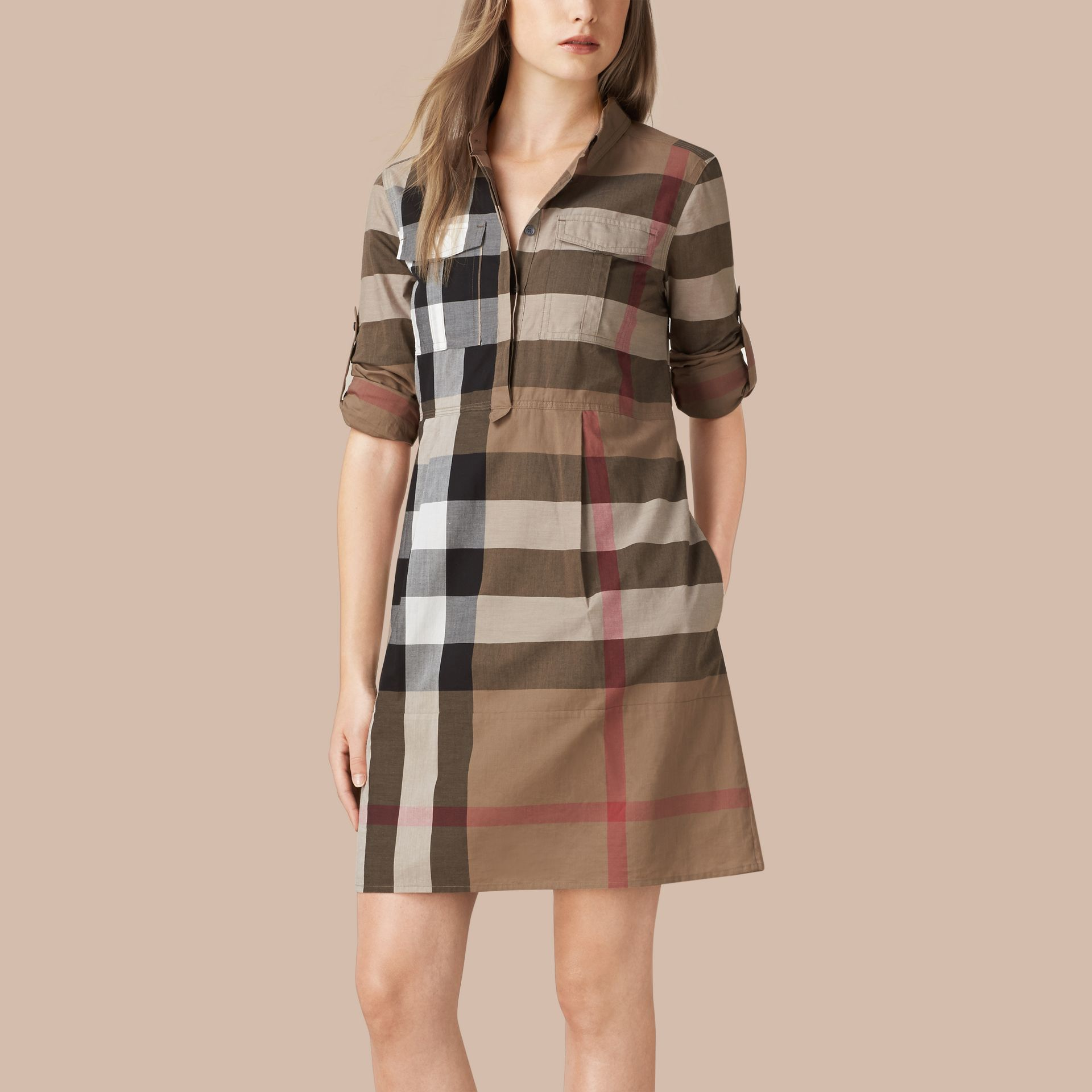 Taupe brown Check Cotton Shirt Dress Taupe Brown - gallery image 1