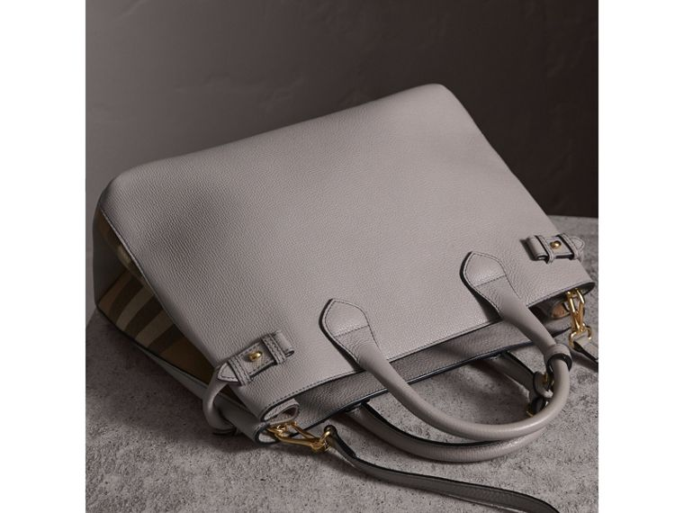 The Medium Banner in Leather and House Check in Light Grey Melange - Women | Burberry - cell image 4
