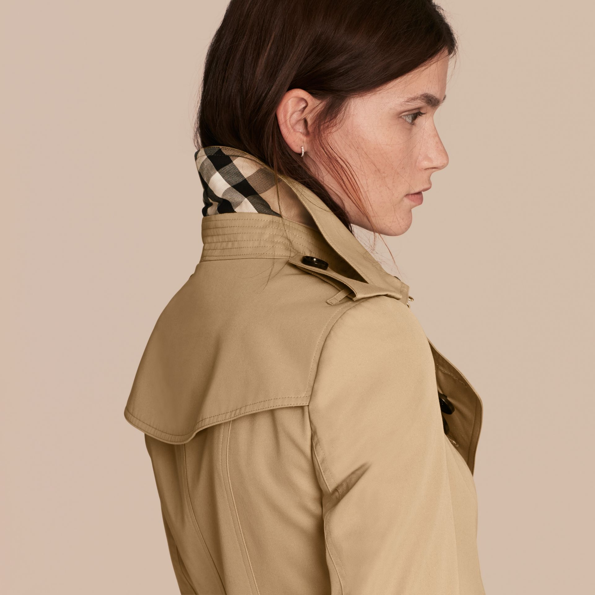 Honey Cotton Gabardine Trench Coat with Detachable Fur Trim Honey - gallery image 5