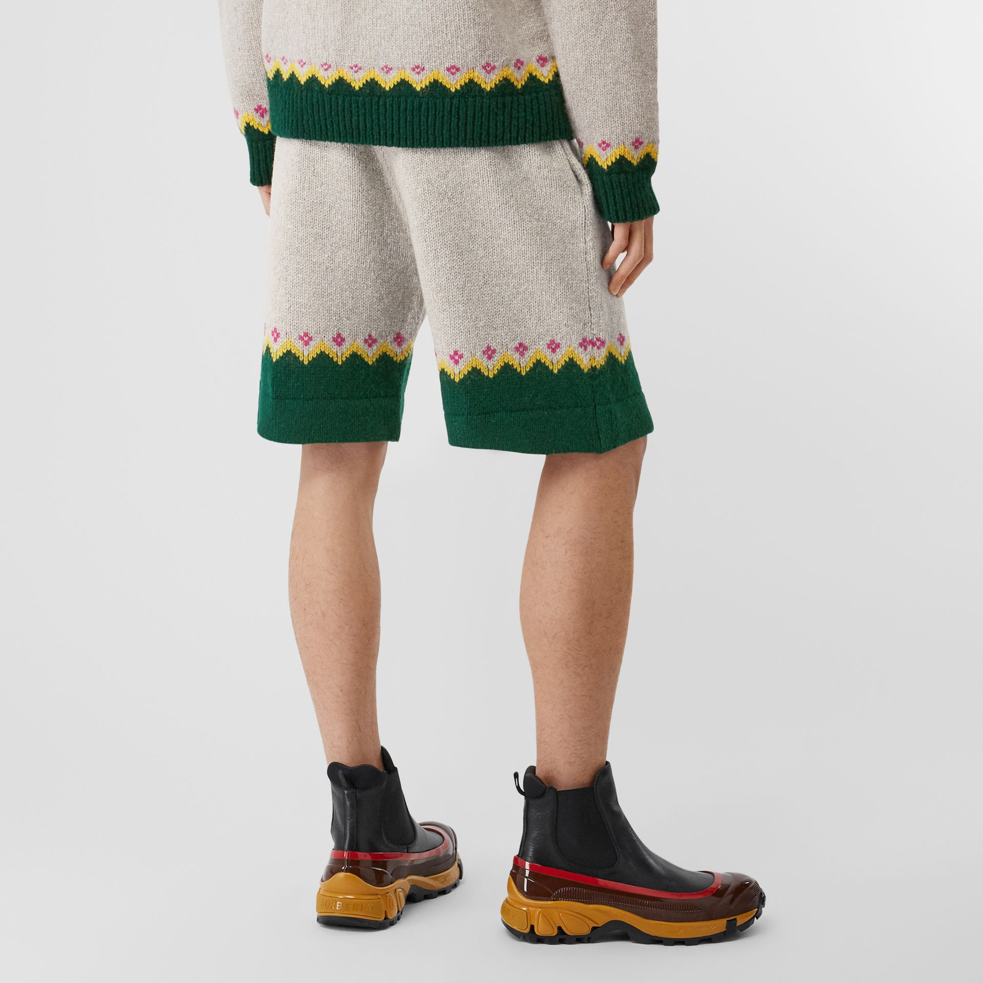 Fair Isle Wool Drawcord Shorts in Sesame - Men | Burberry Hong Kong S.A.R - gallery image 2