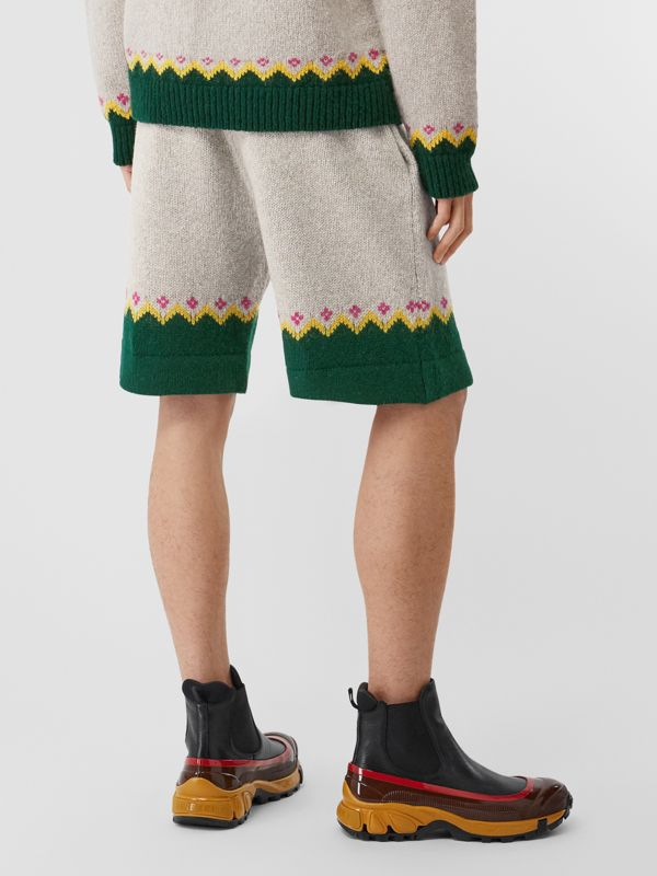 Fair Isle Wool Drawcord Shorts in Sesame - Men | Burberry Hong Kong S.A.R - cell image 2