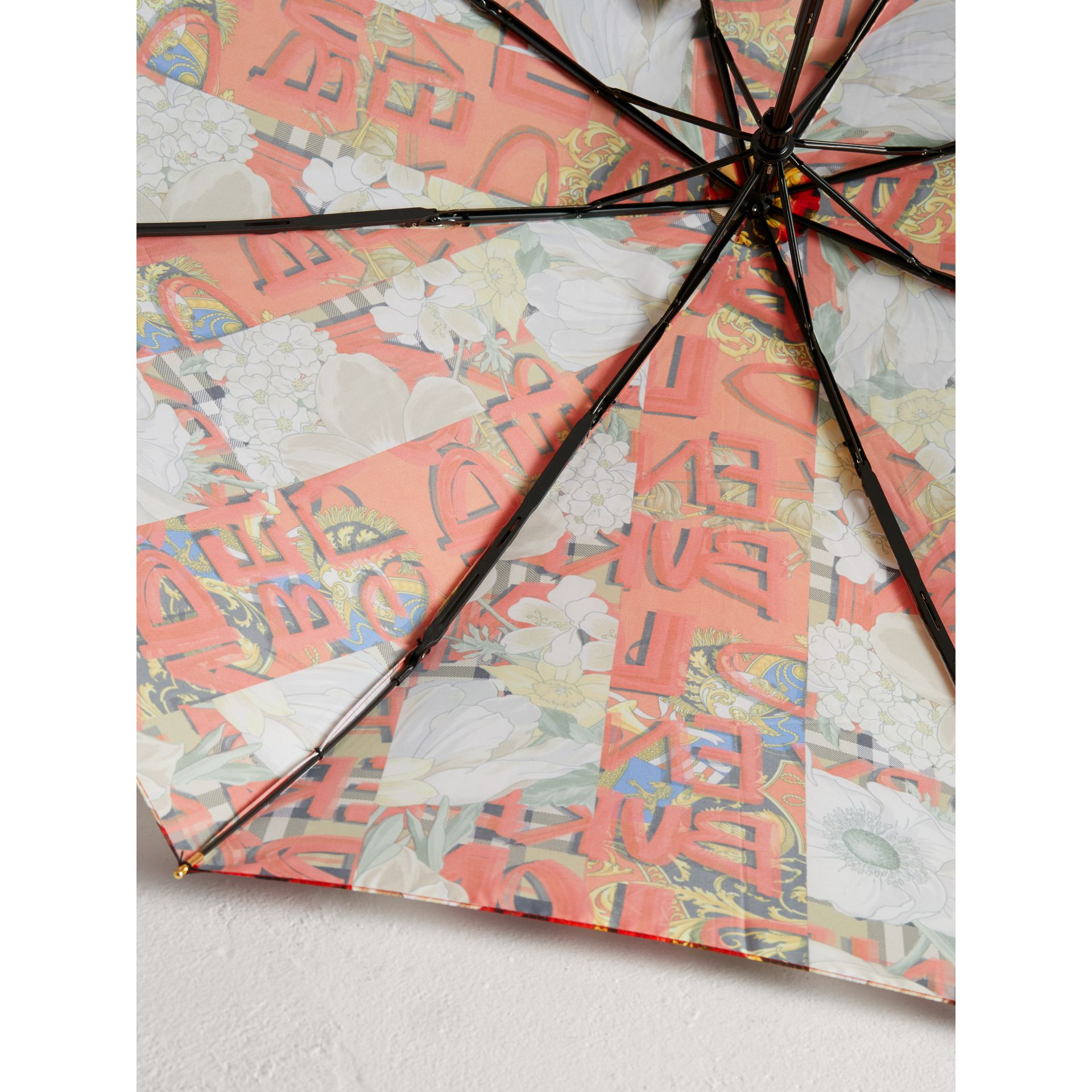 Graffiti Archive Scarf Print Folding Umbrella in Multicolour | Burberry - gallery image 1