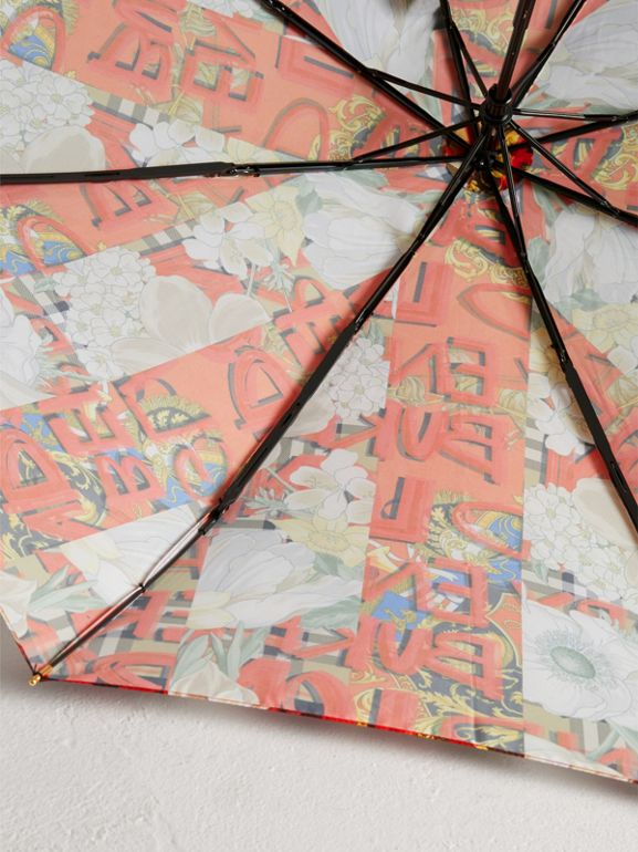 Graffiti Archive Scarf Print Folding Umbrella in Multicolour | Burberry United States - cell image 1