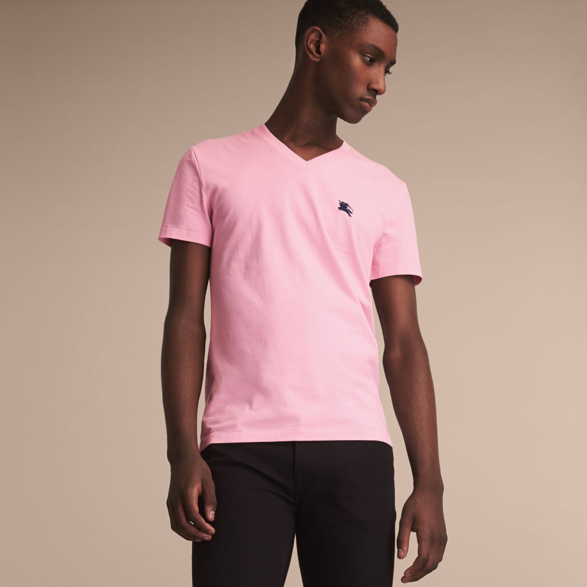 Cotton V-neck T-shirt in Light Pink - Men | Burberry - gallery image 6