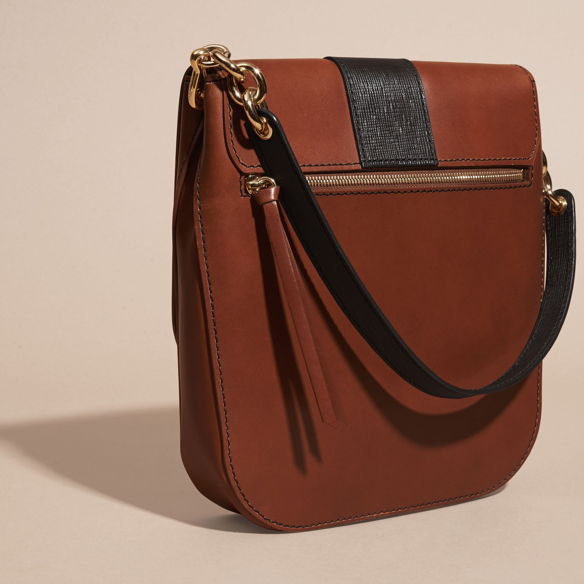 Tan The Buckle Satchel in Smooth Leather - gallery image 4