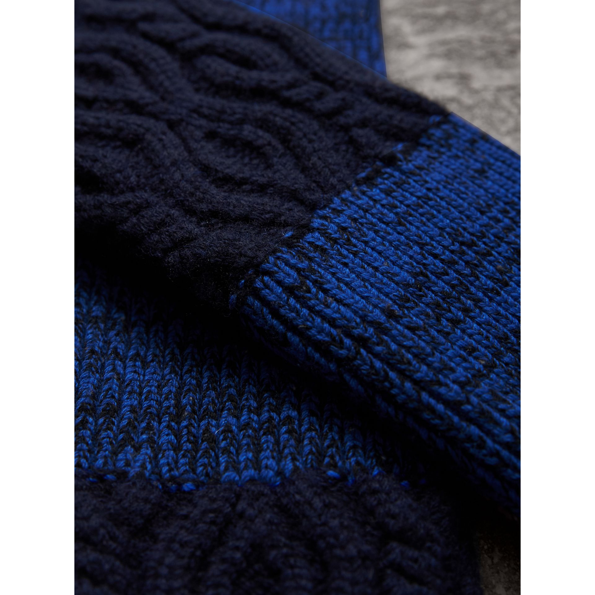Wool Cashmere Fingerless Gloves in Navy | Burberry - gallery image 2