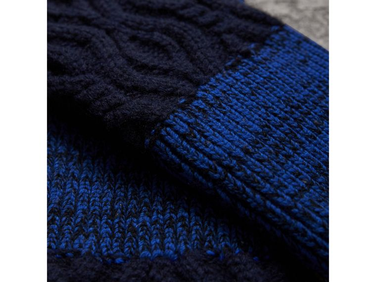Wool Cashmere Fingerless Gloves in Navy | Burberry - cell image 1