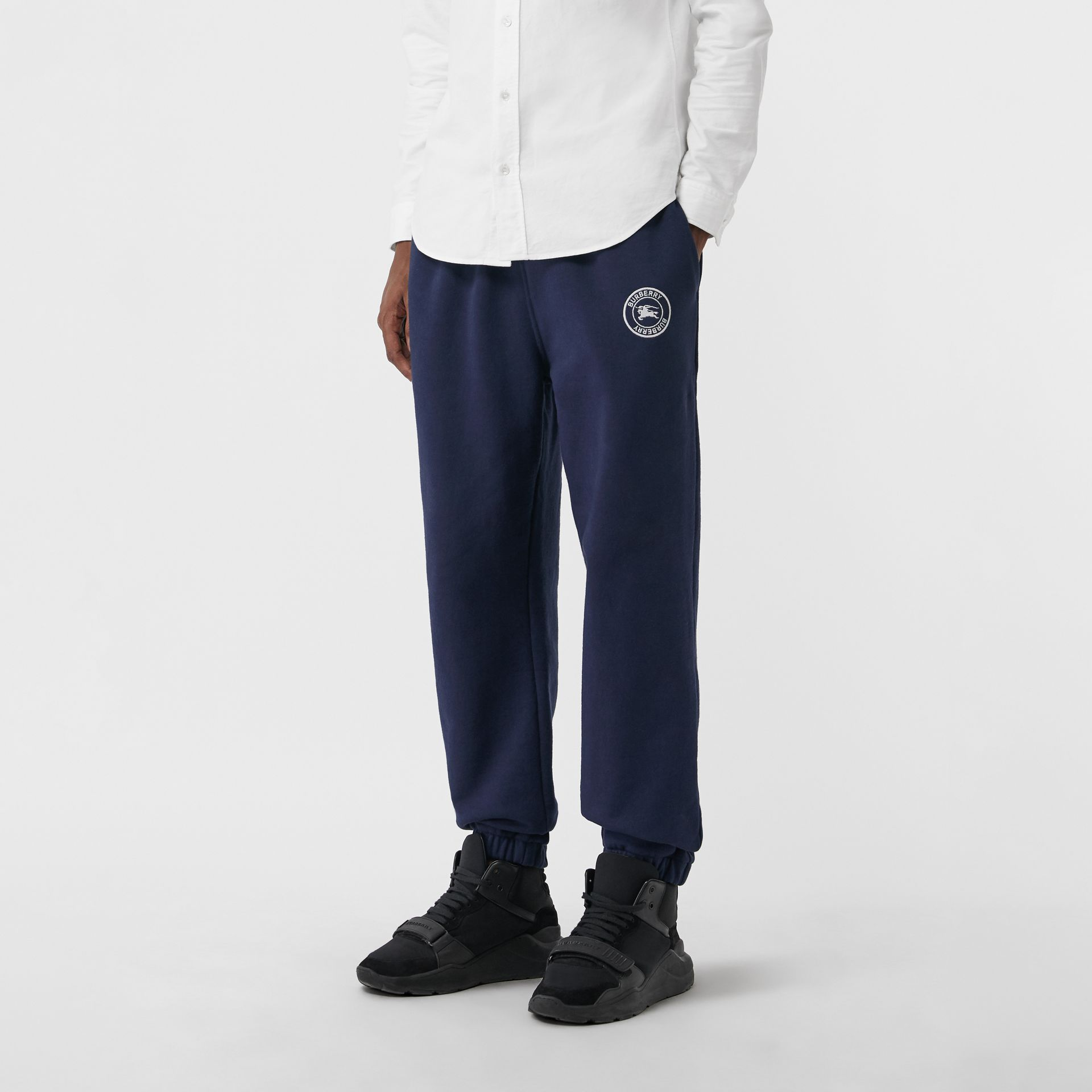 Embroidered Logo Jersey Track Pants in Navy - Men | Burberry - gallery image 4