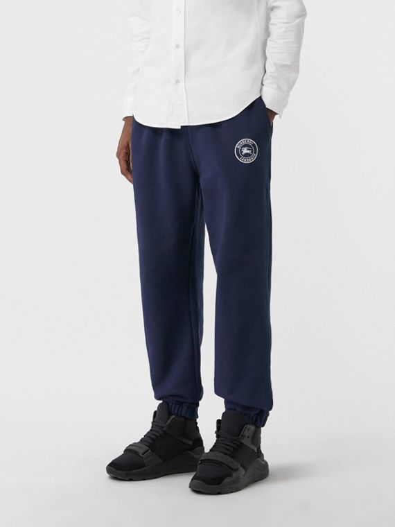 Embroidered Logo Jersey Trackpants in Navy