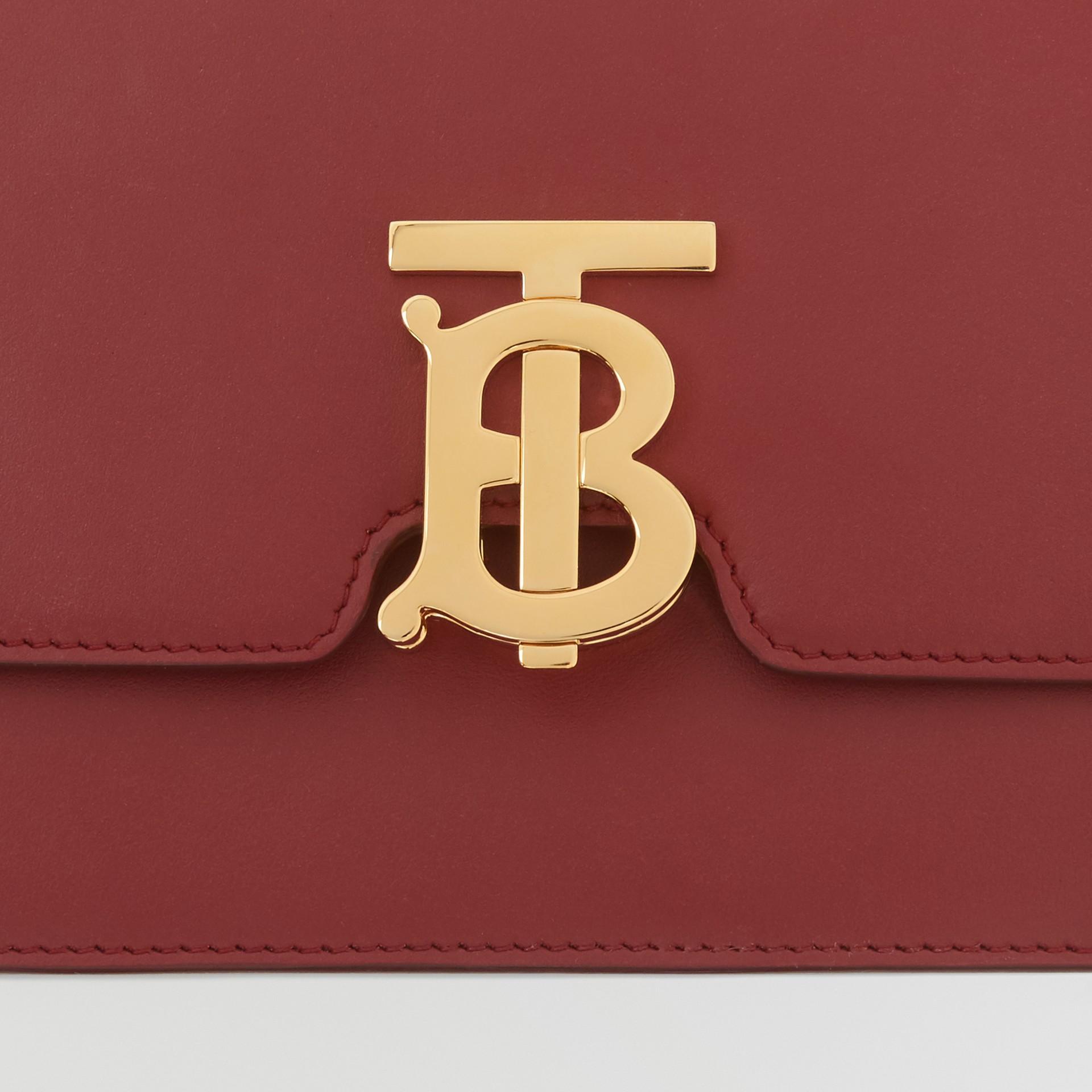 Small Leather TB Bag in Dark Crimson - Women   Burberry - gallery image 1