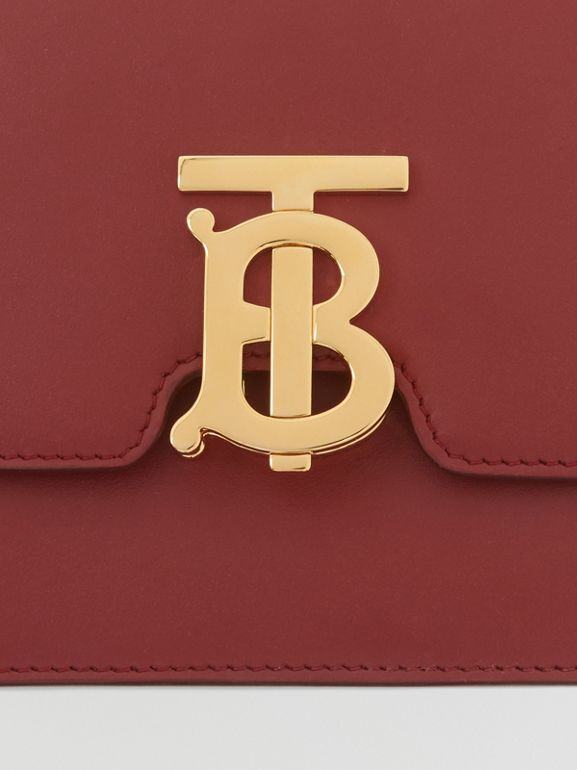 Small Leather TB Bag in Dark Crimson - Women   Burberry - cell image 1