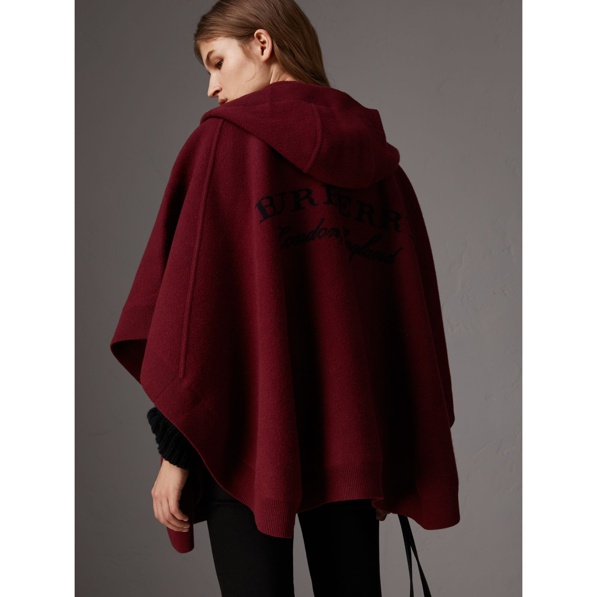 Wool Cashmere Blend Hooded Poncho in Deep Red - Women | Burberry - gallery image 2