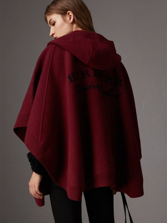 Wool Cashmere Blend Hooded Poncho in Deep Red - Women | Burberry - cell image 2