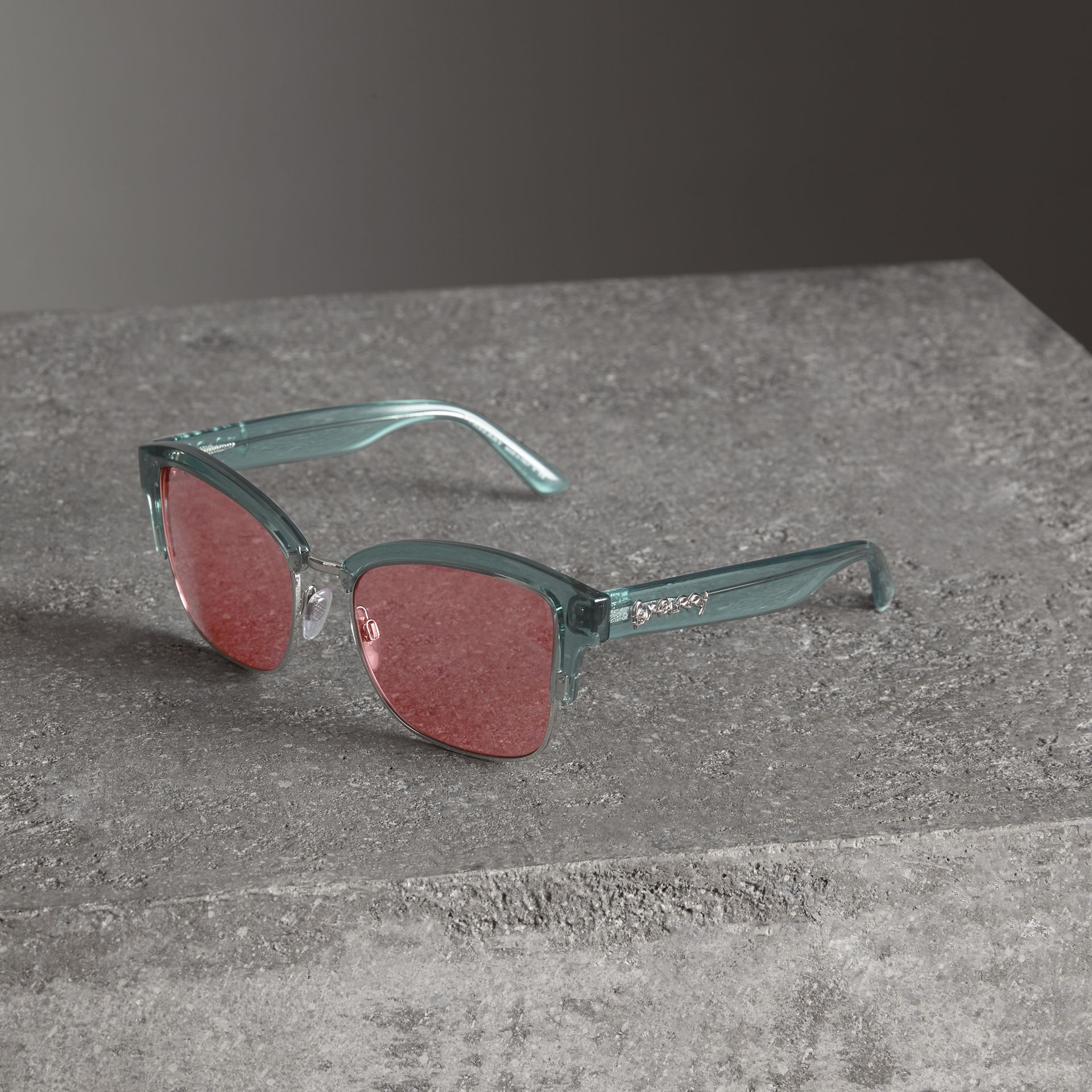 Doodle Square Frame Sunglasses in Blue - Women | Burberry United Kingdom - gallery image 3