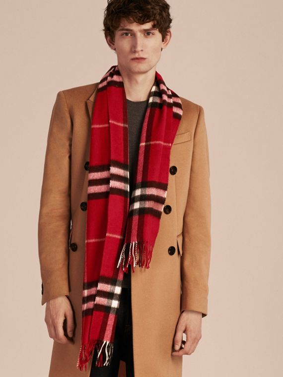 The Classic Check Cashmere Scarf in Parade Red | Burberry Australia - cell image 3