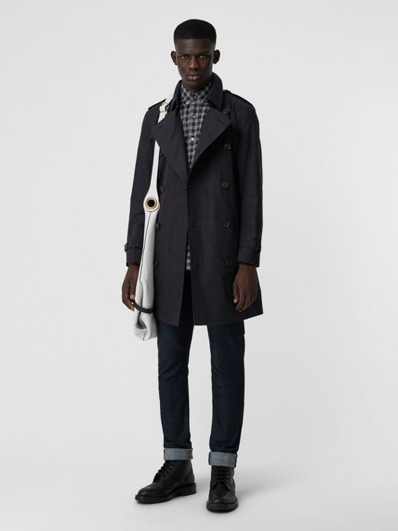 Archive Logo-lined Cotton Gabardine Trench Coat in Midnight Navy