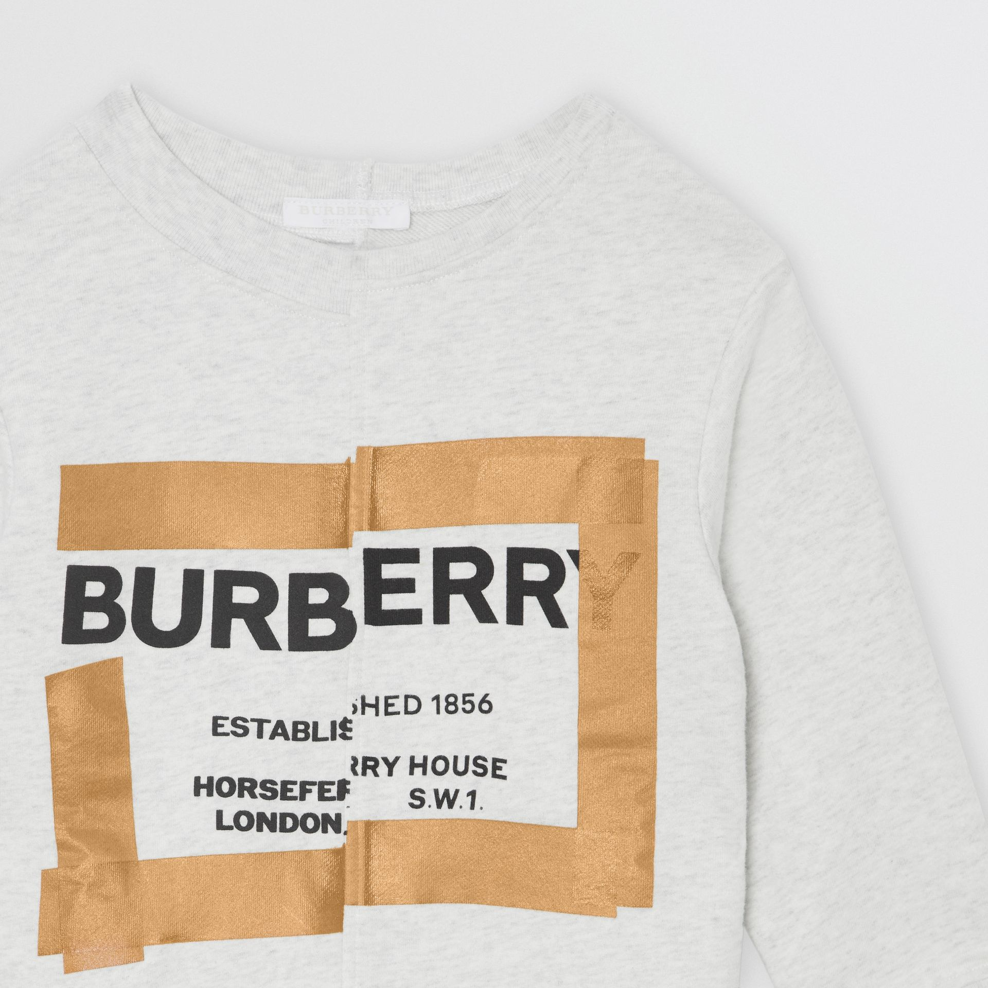 Horseferry Print Cotton Sweatshirt in White Melange | Burberry - gallery image 5