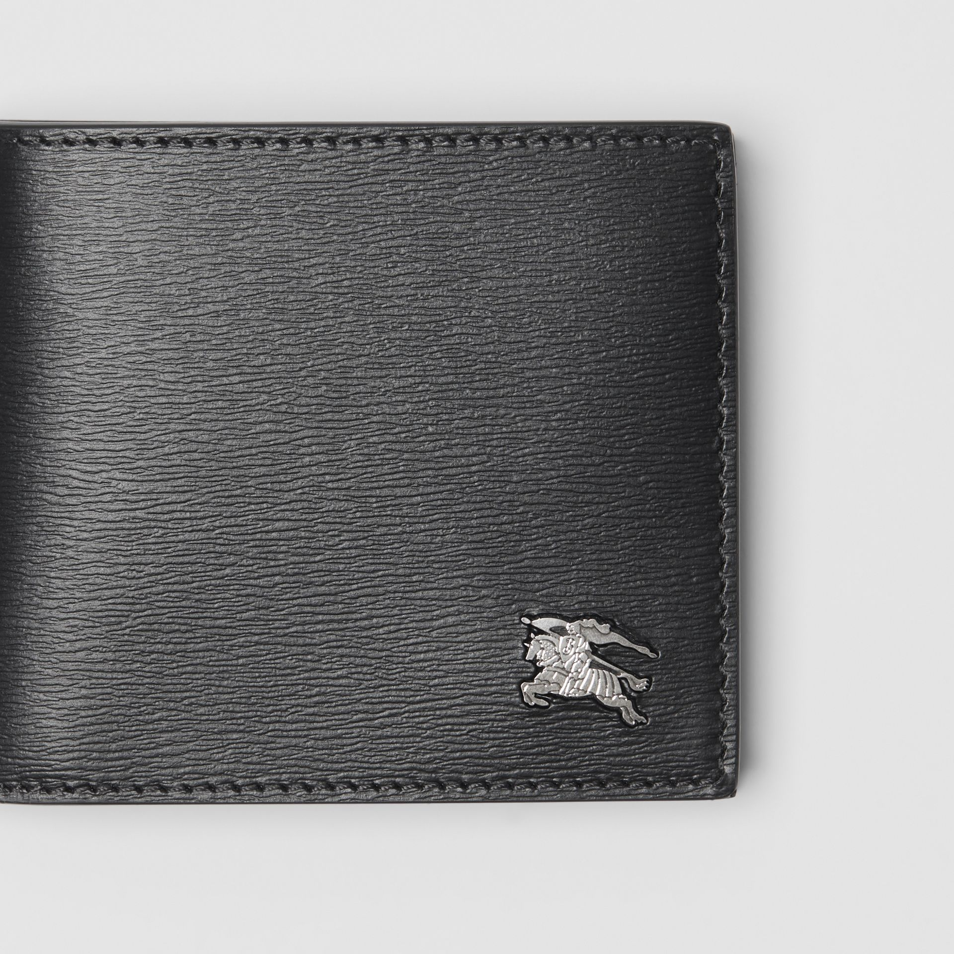 EKD London Leather Bifold Wallet with ID Card Case in Black - Men | Burberry Australia - gallery image 1