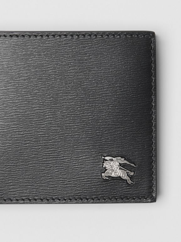EKD London Leather Bifold Wallet with ID Card Case in Black - Men | Burberry Australia - cell image 1