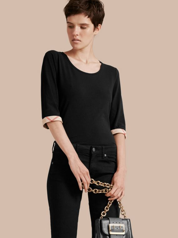 Check Cuff Stretch-Cotton Top in Black - Women | Burberry Hong Kong
