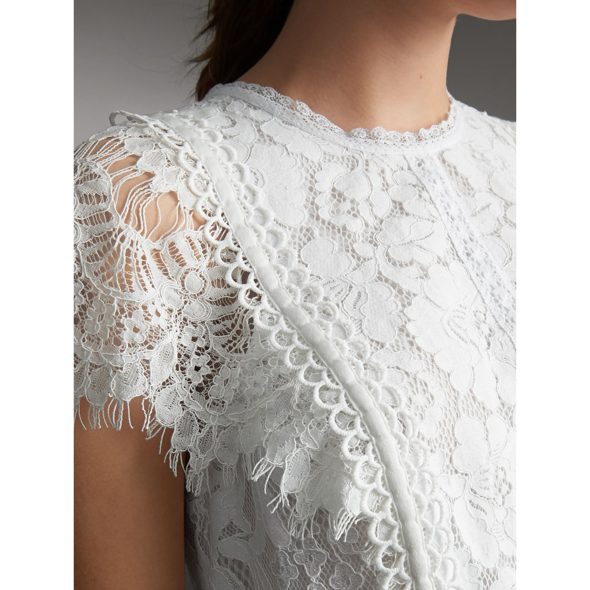 Scalloped Cap Sleeve Floral Lace Top - Women | Burberry - gallery image 5