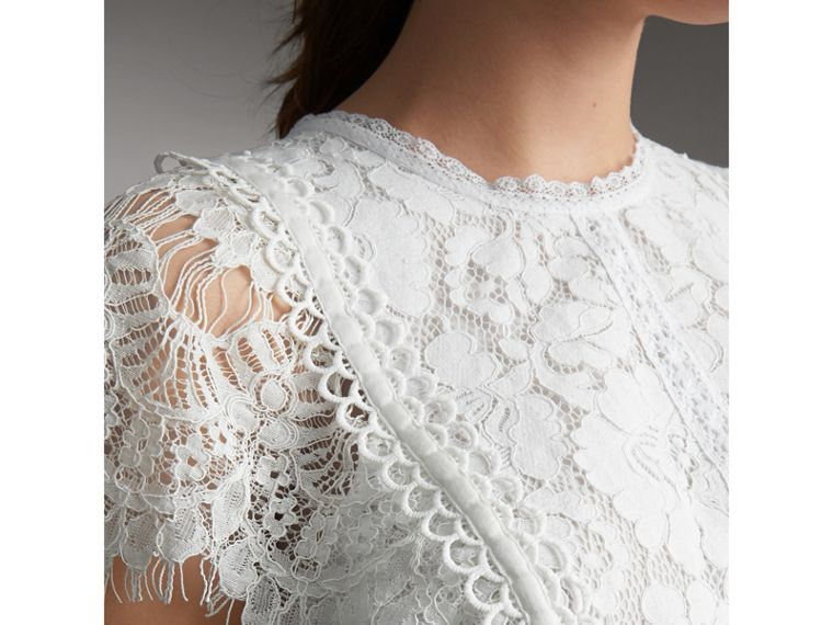 Scalloped Cap Sleeve Floral Lace Top - Women | Burberry - cell image 4
