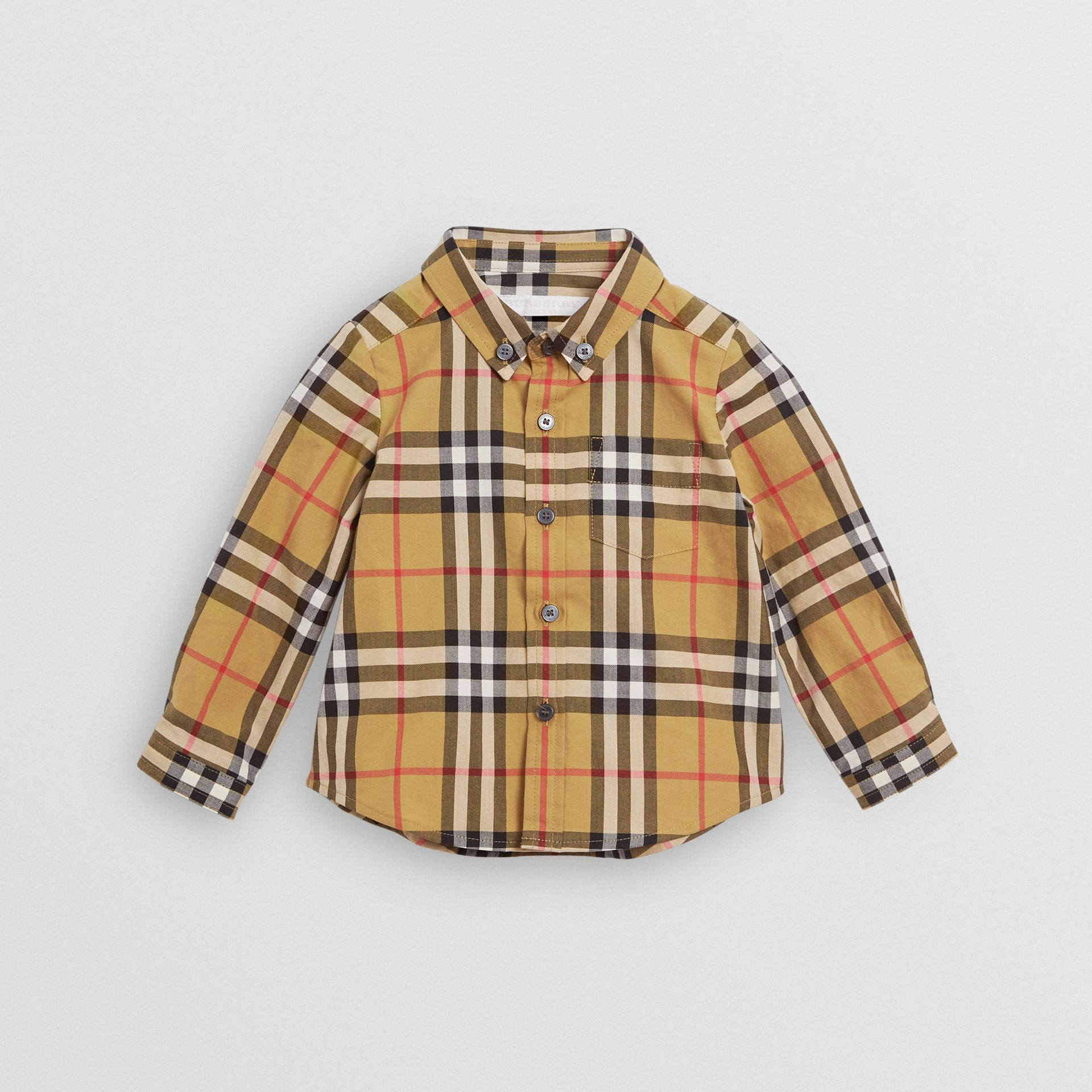 Button-down Collar Vintage Check Cotton Shirt in Antique Yellow - Children | Burberry Canada - gallery image 0