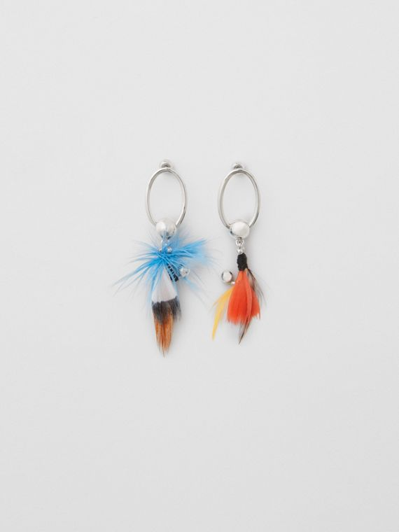 Feather Charm Palladium-plated Drop Earrings in Palladio