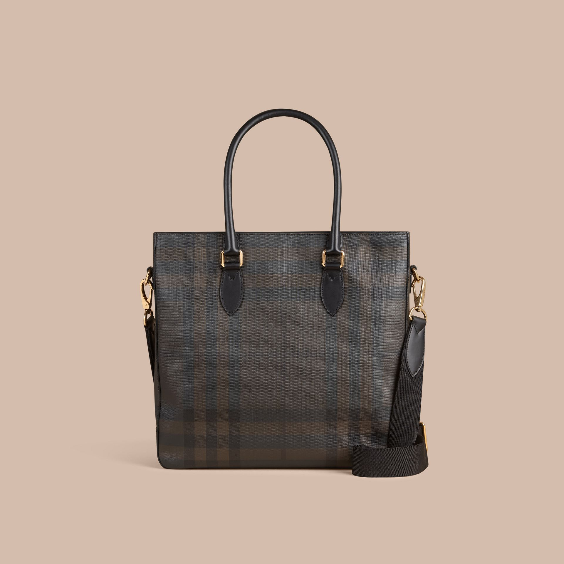 Sac tote à motif London check (Noir/chocolat) - Homme | Burberry - photo de la galerie 7