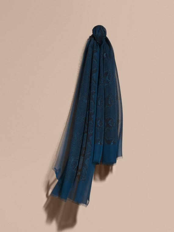 Foulard en soie à imprimé python Bleu Minéral