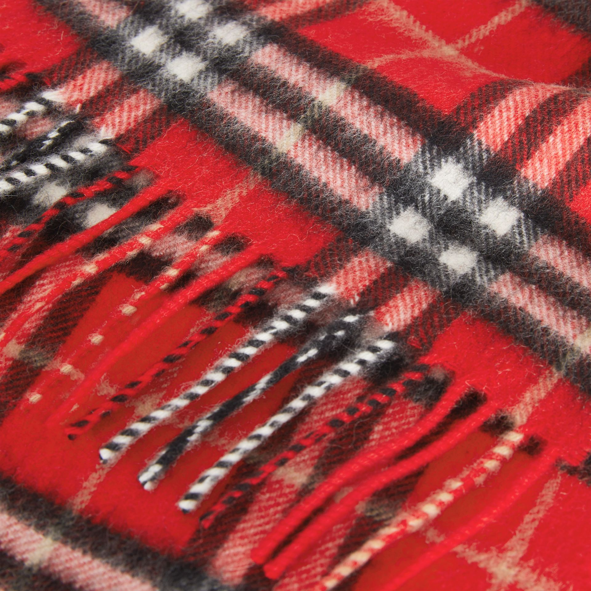 The Mini Classic Vintage Check Cashmere Scarf in Bright Red - Children | Burberry - gallery image 1