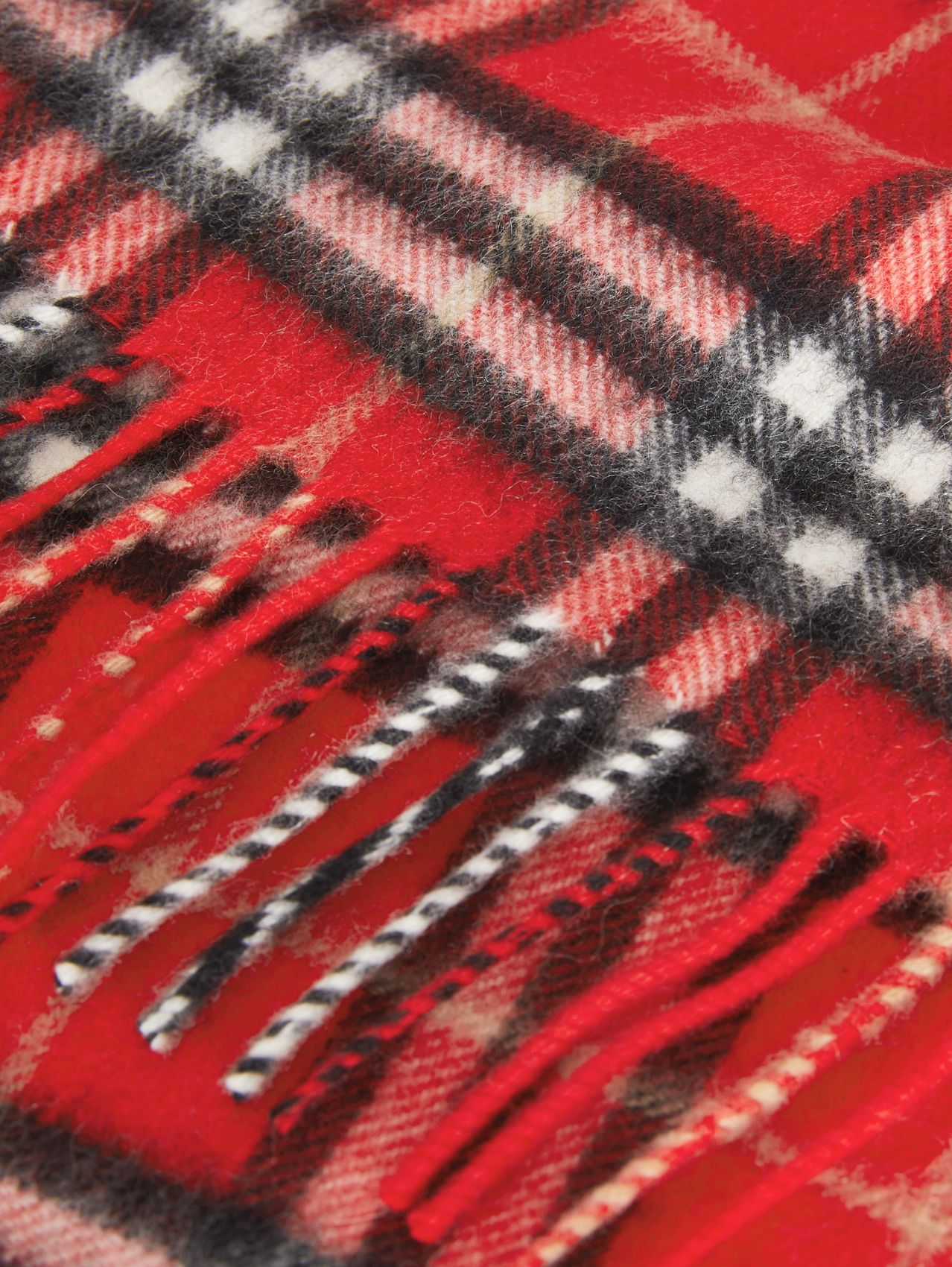 The Mini Classic Vintage Check Cashmere Scarf (Bright Red)