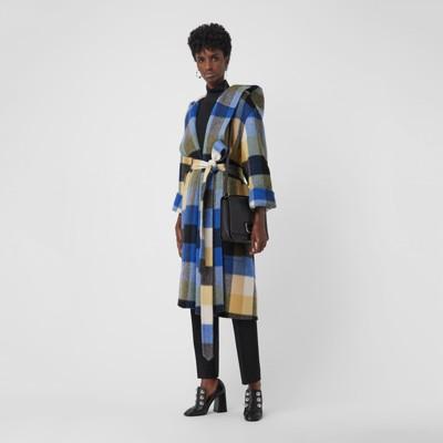 Check Alpaca Wool Blend Dressing Gown Coat in Ochre Yellow - Women ...