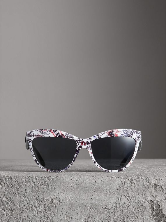 Doodle Cat-eye Frame Sunglasses in White - Women | Burberry Hong Kong - cell image 3