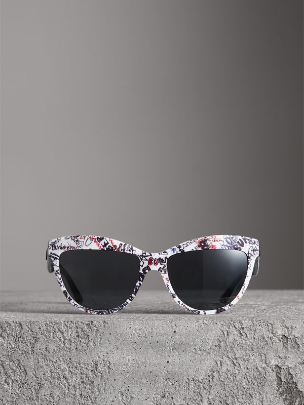 Doodle Cat-eye Frame Sunglasses in White - Women | Burberry United Kingdom - cell image 3