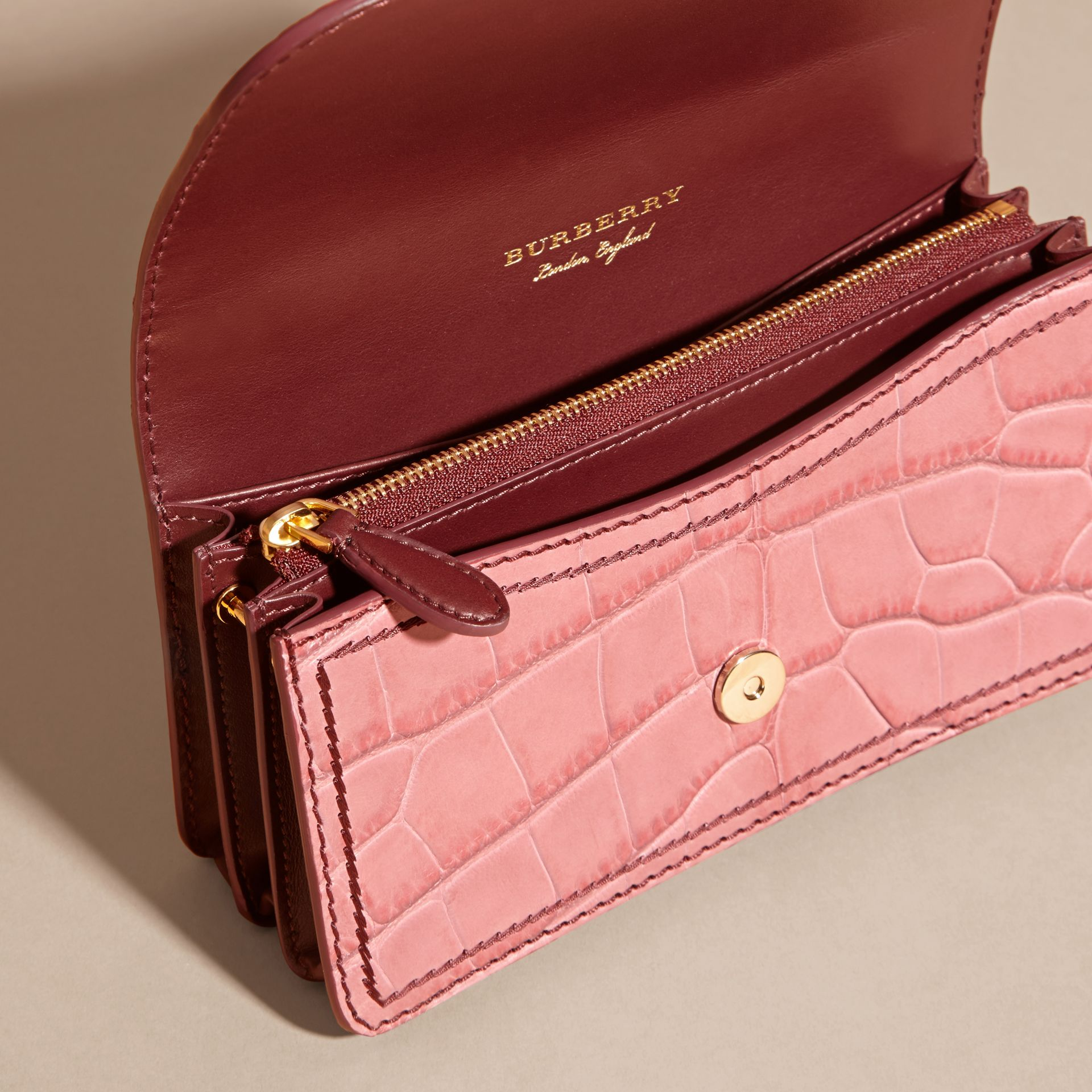 The Small Buckle Bag in Alligator and Leather in Dusky Pink/ Burgundy - Women | Burberry United Kingdom - gallery image 6