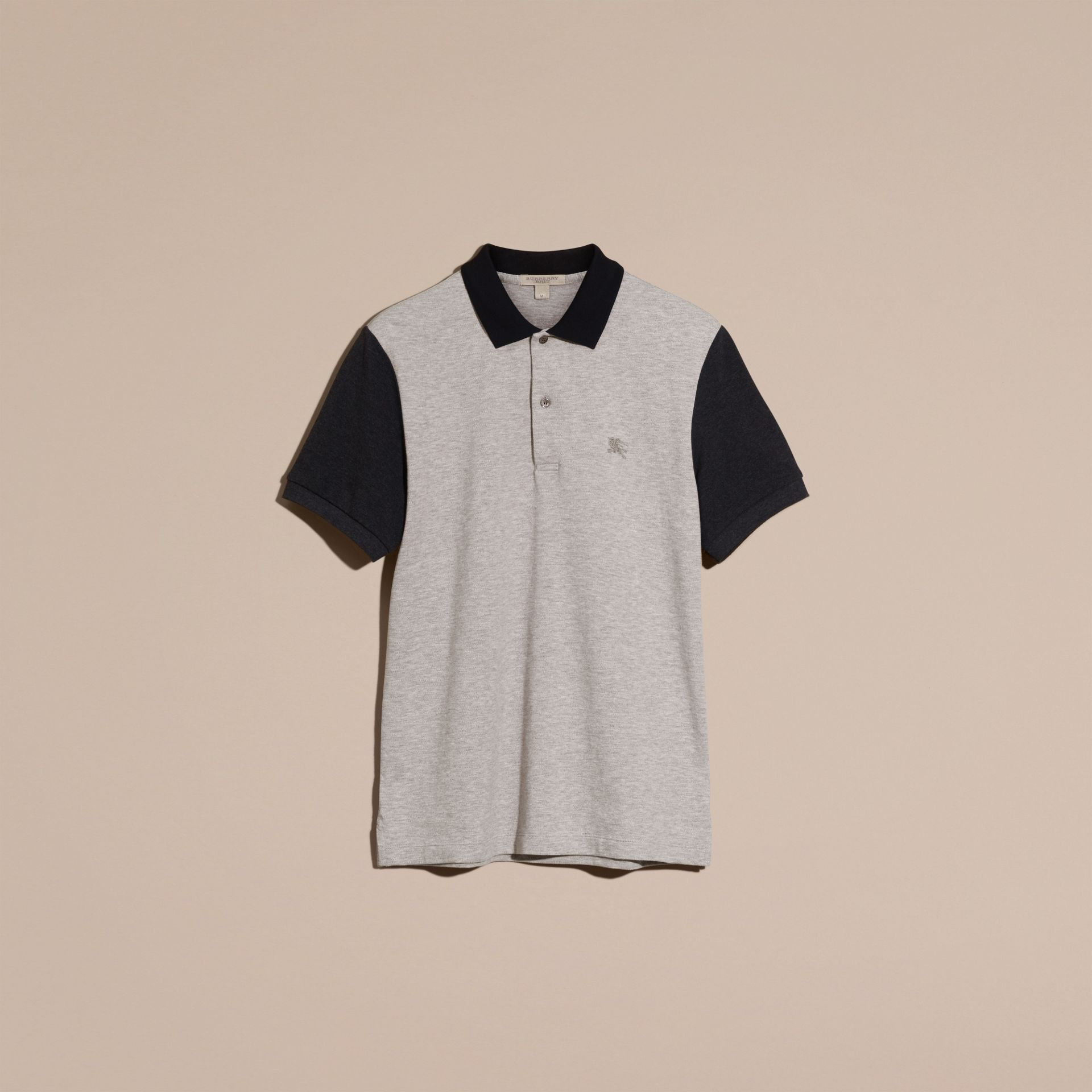 Pale grey melange Colour-block Cotton Piqué Polo Shirt Pale Grey Melange - gallery image 3