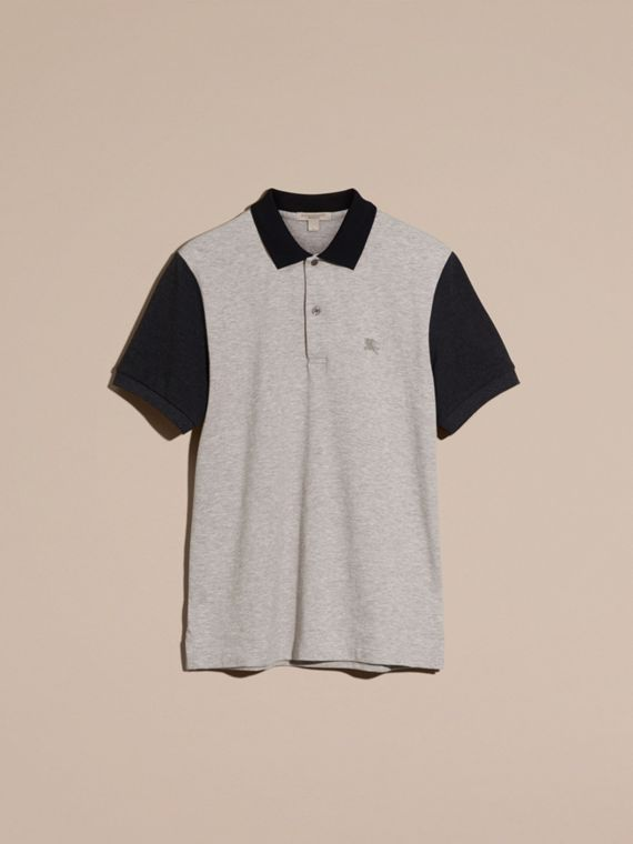 Pale grey melange Colour-block Cotton Piqué Polo Shirt Pale Grey Melange - cell image 2