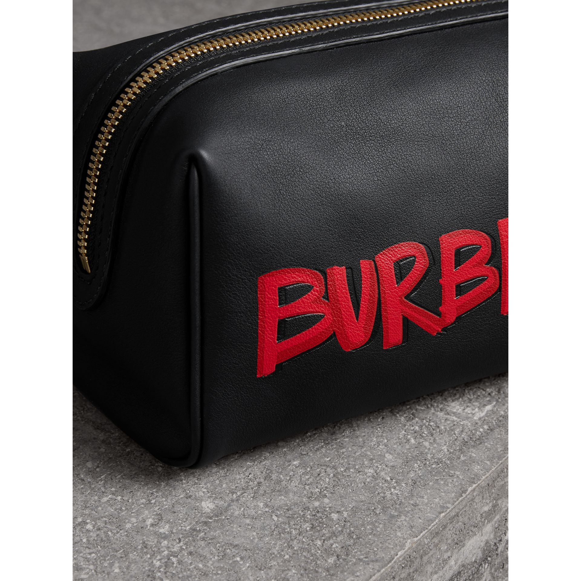 Graffiti Print Leather Pouch in Black | Burberry - gallery image 1