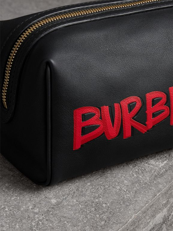 Graffiti Print Leather Pouch in Black | Burberry Singapore - cell image 1